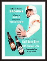 1955 Cleveland Browns Gold Bond Beer Ad Picture Frame print