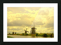 Windmills at Sunset  Picture Frame print