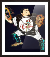 Vintage New York Yankees Catcher Cartoon Picture Frame print