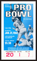 1968 Pro Bowl Football Ticket Stub Print Picture Frame print