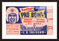 1951 First Pro Bowl Ticket Stub Art Picture Frame print