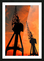 Sunset port tower cranes Picture Frame print