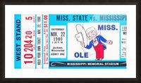 1980 Ole Miss vs. Miss State Football Ticket Stub Art Picture Frame print