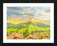 Golden Rays in the Mountains Alpine Village Switzerland Picture Frame print