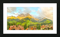 Golden Rays Across The Bernese Highlands in Switzerland Panorama with Engstligen Falls Picture Frame print