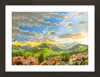 Golden Rays Across The Swiss Alps with Waterfalls Picture Frame print