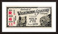 1930 Washington vs. Stanford Ticket Stub Art Picture Frame print