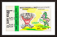 1957 Wisconsin vs. Michigan State Football Ticket Art Picture Frame print