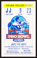 1983 Pro Bowl Ticket Stub Wall Art Picture Frame print