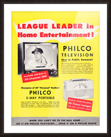 Vintage Philco Television Advertisement Picture Frame print