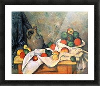 Still life, drapery, pitcher and fruit bowl by Cezanne Picture Frame print