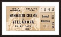 1942 Villanova vs. Manhattan Football Ticket Art Picture Frame print