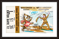 1957 Wisconsin vs. West Virginia Ticket Stub Art Picture Frame print