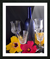 Blue Wine Bottle With Crystal and Tropical Flowers Picture Frame print