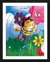 Happiness - Flower Power Buster Bee Picture Frame print