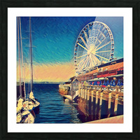 seattle great wheel Picture Frame print