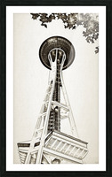 black white seattle space needle art Picture Frame print