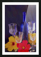 Painterly Blue Wine Bottle with four Crystal and Tropical Flowers Picture Frame print