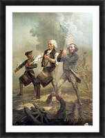 A painting of three men marching through a battle scene Picture Frame print