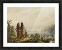 Indians Threatening to Attack Fur Boats Picture Frame print
