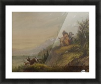 A Pawnee Indian shooting antelopes Picture Frame print