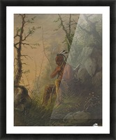 Sioux Indian at a Grave Picture Frame print