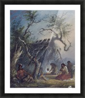Indian Lodge with figures Picture Frame print