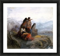 Indian women watching a battle Picture Frame print