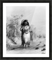 Indian Girl with Papoose Crossing Picture Frame print