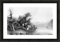 Snake Indians - Fording a River Picture Frame print
