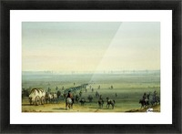 Breaking up camp at sunrise Picture Frame print