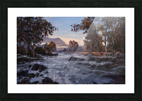 River rolling over stones Picture Frame print
