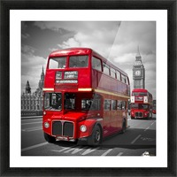 LONDON Red Buses on Westminster Bridge Picture Frame print