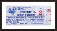 1986 Villanova vs. Connecticut Basketball Ticket Canvas Picture Frame print