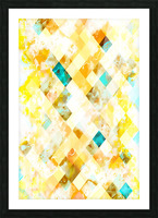 geometric pixel square pattern abstract in yellow brown blue Picture Frame print