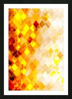 geometric pixel square pattern abstract in brown and yellow Picture Frame print