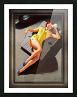 Permite Mechanic Pin-up Girl by Bill Medcalf Vintage Art Picture Frame print