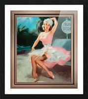 Bus Stop Pinup Girl Vintage Artwork Picture Frame print