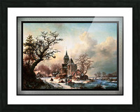 Winter Landscape with Activities by a Village by Frederik Marinus Kruseman Old Masters Classical Fine Art Reproduction Picture Frame print
