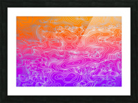 geometric fractal line abstract background in purple orange Picture Frame print