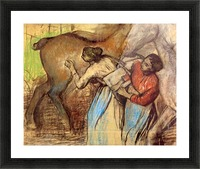 Two women washing horses by Degas Picture Frame print