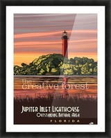 Jupiter Inlet Lighthouse, Vintage Florida Travel Reproduction Picture Frame print