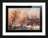 Winter Landscape with Skaters on a Frozen River by Frederik Marinus Kruseman Fine Art Old Masters Reproduction Picture Frame print