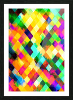 geometric square pixel pattern abstract background in yellow blue green pink orange Picture Frame print