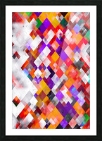 colorful geometric square pixel pattern abstract art in orange red purple Picture Frame print