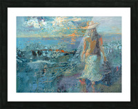 Woman on a Twilight Beach Picture Frame print
