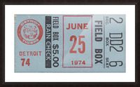 1974 Detroit Tigers Field Box Ticket Picture Frame print