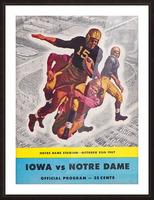 1947 Notre Dame vs. Iowa Football Program Cover Art Picture Frame print