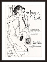 1960 Pepsi Advertisement Poster Picture Frame print