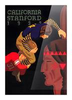 1933 Stanford vs. California Football Program Brushed Metal Art Picture Frame print